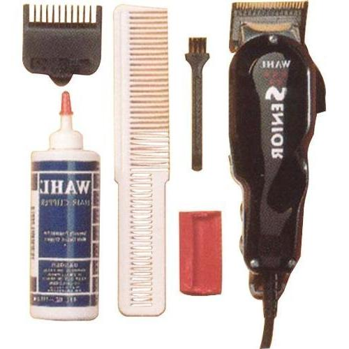 Wahl Professional Star Series Premium Clipper, Motor Stay Lightweight and with Adjustable Thumb and High Precision Locking Blades with 3 Trimming Guide Attachments, Extra Long Power Cord, White Comb, Oil, Cleaning and Guard Included & 2 Wave