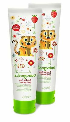 Babyganics Fluoride Free Toothpaste, Strawberry, 4oz Tube
