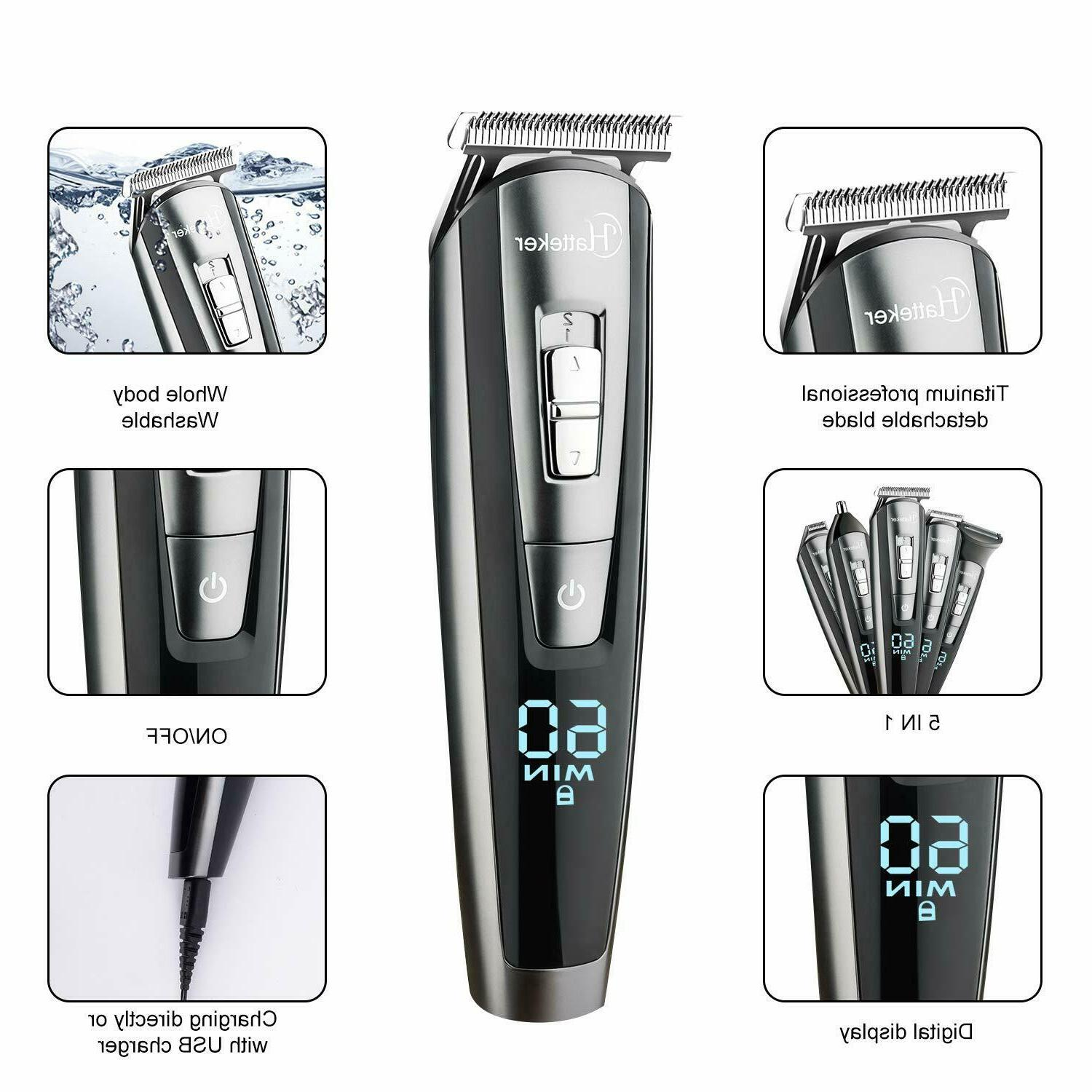 HATTEKER Men Cordless Hair Trimmer rechargeable Precision