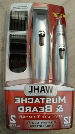 WAHL Mustache & Beard Battery Trimmer Kit w/ Nose Trimmer