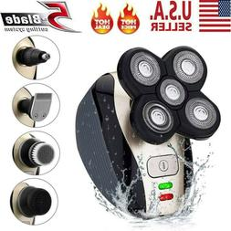5 IN 1 Rechargeable 4D Rotary Electric Shaver Bald Head Shav